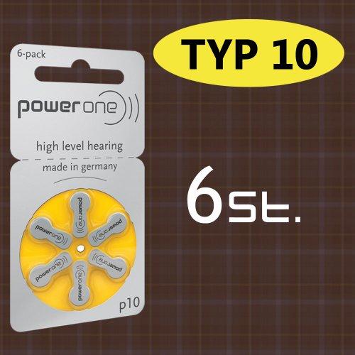 Lot de 6 Batterie PowerOne type P 10 piles pour appareils auditifs (pour prothèses : audifon)