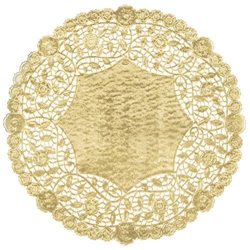 The Baker Celebrations Gold Rund Folie Tabelle Deckchen Papier Spitze 12 zoll (30.48cm) Dekorative Geschirr Einweg Papiere Platzdeckchen, für Kuchen, Nachspeisen, Back Treat Displays Gold - Doily Fall