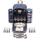 Picture Of Andrew James Picnic Hamper Backpack Bag for 4 People with Fleece Tartan Blanket and Cooler Compartment - 32 Piece Set including Plates Wine Glasses Cutlery - Perfect to Use with Picnic Baskets