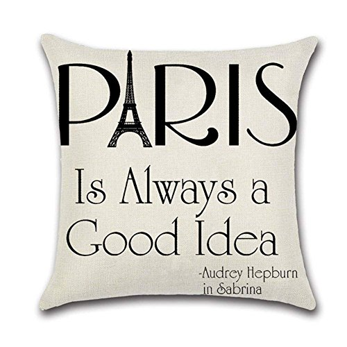 WENEOO LA Quote Words Cotton Linen Home Decorative Throw Pillow Case Sofa Cushion Cover 18