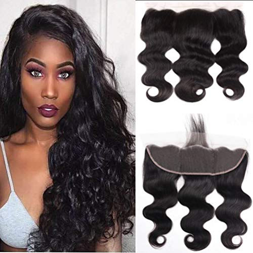 Lace Frontal Body Wave 13x4 Ear to Ear Lace Frontal Closure 10A Brazilian Virgin Human Hair Frontal with Baby Hair with Pre-plucked Natural Color 12inch