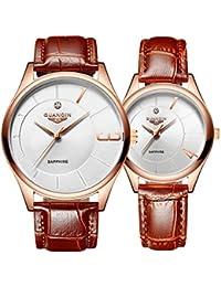 GUANQIN reloj de pulsera de cuarzo analógico banda de piel auténtica 1par/2pcs romántico moda negocios hombres mujeres pareja reloj Set oro blanco marrón