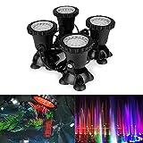 Shootingstar 4PCS / 144 geführte Teich-Lichter, Fernsteuerungs RGB 36 LED Unterwasserprojektor-Scheinwerfer-Unterwasserlicht IP68 imprägniern für Garten-Landschaftspark Rockery Pool-Teich-Korridor-Aquarium-Aquarium bunt