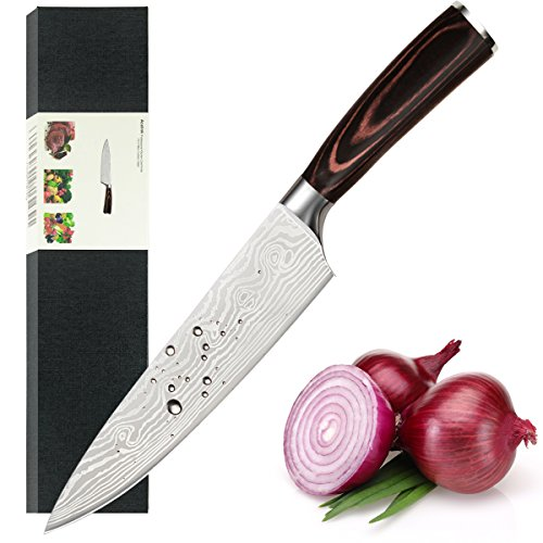 Acelink Kochmesser Küchenmesser 20cm Profi Chefmesser Allzweckmesser aus Hochwertigem Carbon Edelstahl, Scharfe Klinge mit Ergonomischer Griff