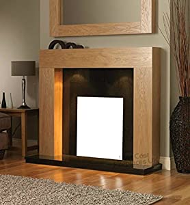 Oak Wood Surround Black Hearth and Back Panel Freestanding Set Suite Electric Fireplace Large Downlights Big Lights 54""
