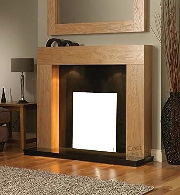"Oak Wood Surround Black Hearth and Back Panel Freestanding Set Suite Electric Fireplace Large Downlights Big Lights 54"""