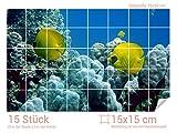 Graz Design 761004_15x15_50 Fliesenaufkleber Korallen und Fische für Kacheln | Bad-Fliesen mit Folie überkleben (Fliesenmaß: 15x15cm (BxH)//Bild: 75x50cm (BxH))