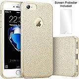 TecHERE StarCase - Custodia Morbida con Brillantini Glitter per iPhone 8 iPhone 7 (4.7 Pollici) - Cover di Alta qualità in Silicone Gel con Pellicola Protettiva Proteggischermo Inclusa (Oro)