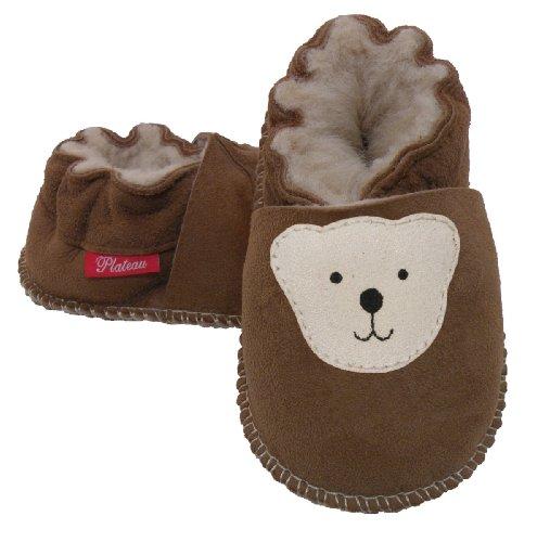 Plateau Tibet - ECHT LAMMFELL Baby Kinder Schuhe Babyschuhe - Beige, Braun - Bär 16 17 18 19 Braun (Chestnut)