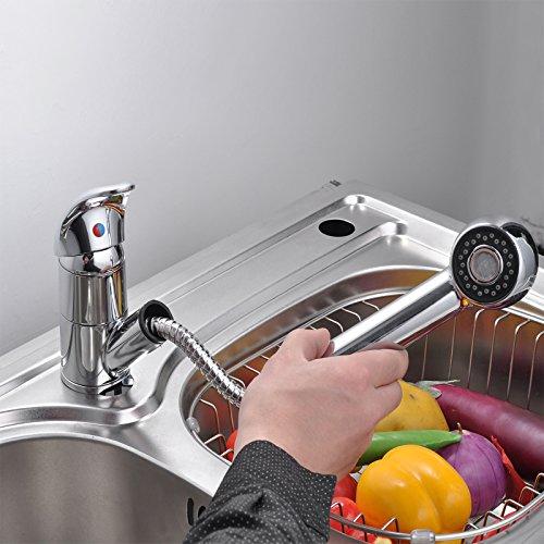 Ancheer Einhebel Waschtischarmatur Wasserhahn Spültisch Küche Waschtisch Waschenbecken mit herausziehbarem Brausekopf Armatur -