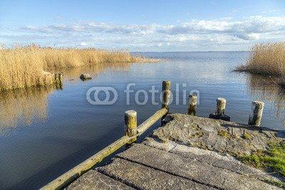 """Alu-Dibond-Bild 120 x 80 cm: """"old landing stage at Achterwasser in Usedom"""", Bild auf Alu-Dibond"""