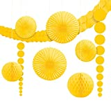 Amscan 243568-09-55 - Hängedekoration, 9 teilig Set, gelb