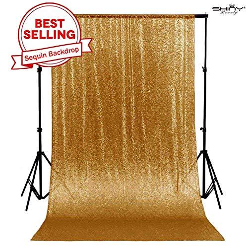 ShinyBeauty 180x215cm Gold Pailletten Kulissen-Pailletten Vorhang Gold 6FTx7FT, Gold Pailletten Stoff, Stoff Hintergründe, Hochzeit Pailletten Vorhänge, Pailletten-Panels, erröten Home Decor -