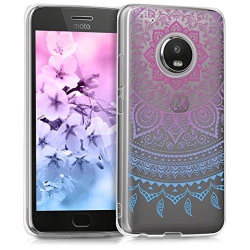 kwmobile Motorola Moto G5 Plus Hülle - Handyhülle für Motorola Moto G5 Plus - Handy Case in Blau Pink Transparent