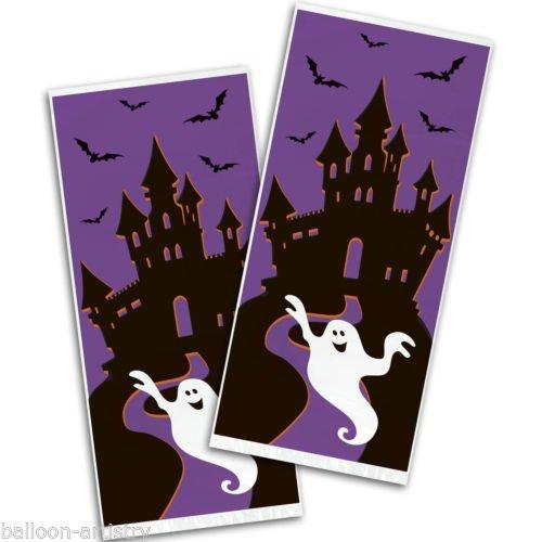 Unbekannt Halloween-Süßigkeiten Tüten Geisterschloss-Tüten 20 Stück lila-schwarz-Weiss 28x13cm Einheitsgröße (Geburtstag Für Party Halloween-süßigkeiten)