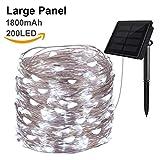 Hilai Solarbetriebene Lichterketten 200 LED Kupferdraht Licht 72ft Sternenlichter Wasserdicht IP65 Fee Dekorative Lichter für Yard Outdoor Hochzeit Weihnachten (kaltweiß)