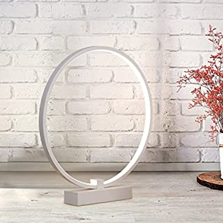 JIAHONG Led table lamp, bedroom bedside creative round shape table lamp, high light transmission acrylic art table lamp (white,360 ° rotation) big numder ( Color : White light )