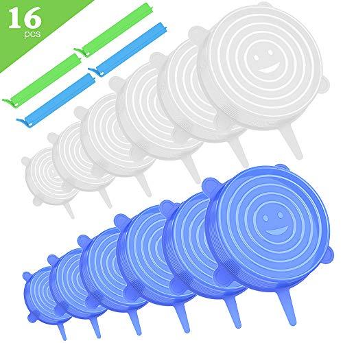 Dehnbare Silikondeckel Wiederverwendbare Silikon Stretch Deckel 16-Packs Set (12 Deckel and 4 Klammern) Frischhalte-Deckel Stretch Lid Seal, Silikon Abdeckung für Verschiedenen Behälter, 6 Größen -