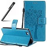 BtDuck Compatible for Huawei P8 Lite Hülle Blau Handyhülle Huawei P8 Lite [Nicht für P8 Lite 2017] Flip Case Leder Schutzhüllen Schmetterling Katze Muster Brieftasche mit Magnetverschluss Kartenfach