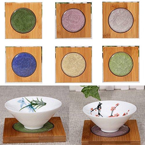 Bluelover Fotografia Piazza bambù Coaster tè portabicchieri opaco ghiaccio-crepa ceramica Coaster tè Kungfun Acessaries-cachi