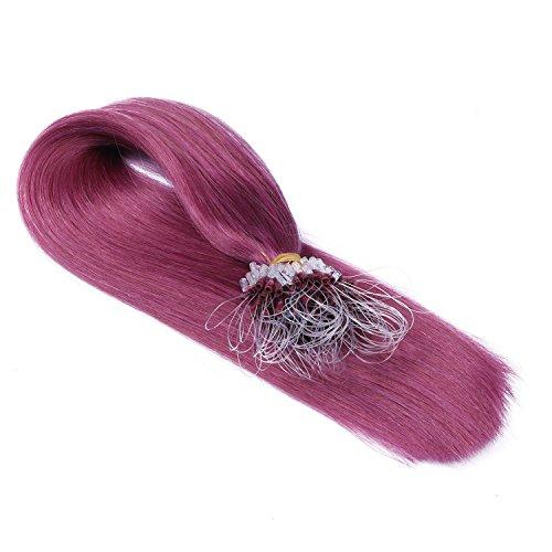 Micro-Ring / Loop Hair Extensions (#VIOLETT - 50 cm - 25 Strähnen - 0,5g) 100% Remy Echthaar Haarverlängerung Micro Ring Remy Qualität, ganz leicht einzusetzen - by Haar-Profi - Loops Micro Ringe
