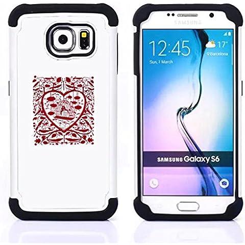 Hypernova Híbrido Heavy Duty armadura cubierta silicona prueba golpes Funda caso resistente Para Samsung Galaxy S6 / SM-G920 [Corazón de la jaula del pájaro minimalista Libertad Prisión