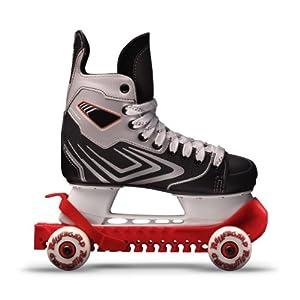RollerGard Kufenschoner mit Rollen – Kufenschoner für Eishockey- & Schlittschuhe I Eishockeyschlittschuh-Schutz I Kufenzubehör I Rot – One Size