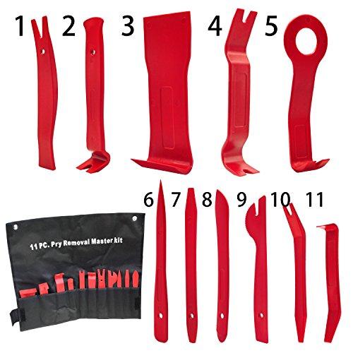Auto Werkzeuge , Mture Fahrzeug Innen 11 Stück Universal Automotive Trimmwerkzeug-Set Kit-Einsatz auf Türverkleidungen, Polster, Zierleisten, Leisten (Rot) Test