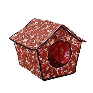 Abnehmbares Dach Weiche Warme Haustier Nest Hund Katze Haus Bett Haustier Zwinger Braun L