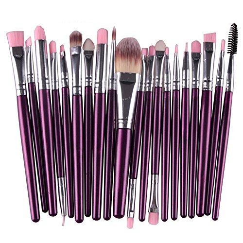 Seawood® 20 pcs Lot de pinceaux de maquillage Poudre Fond de Teint Fard à paupières Eyeliner Rouge à lèvres Pinceaux Cosmétique - Vert/café, Violet/argenté, Taille unique