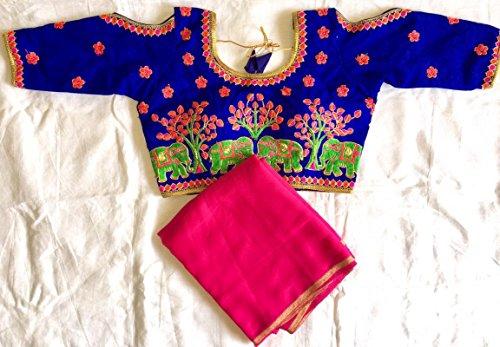 Readymade Embroidered Art Silk Blouse Wedding Choli Saree Top Dress Sari