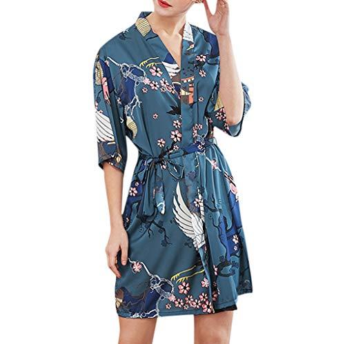 Damen Kimono Strickjacke Morgenmantel Kurz Lonshell Blumedrucken Seide Bademantel V-Ausschnitt Robe Nachthemd Schlafanzug für Party Hochzeit -