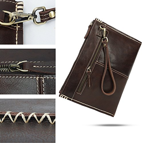 AOKE Echtes Leder Brieftasche Vintage Scheckheft Geldbörse Kreditkarte Münzen Halter schlanke Kupplung Handtasche Wristlet für Männer dunkelbraun dunkelbraun