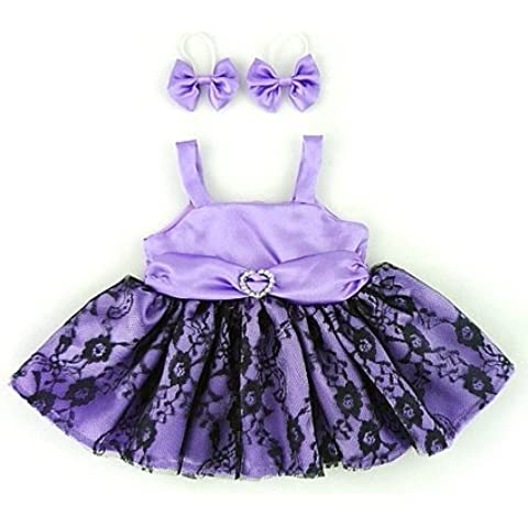 Osos construir su Armario - disfraz de oso de peluche en un 35-40 cm, vestido de baile con dos arcos, púrpura