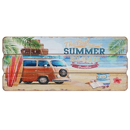 Best Summer Holidays Holzschild Wand Deko Sommer Strand Bus Schild Bild MDF 34x15 cm
