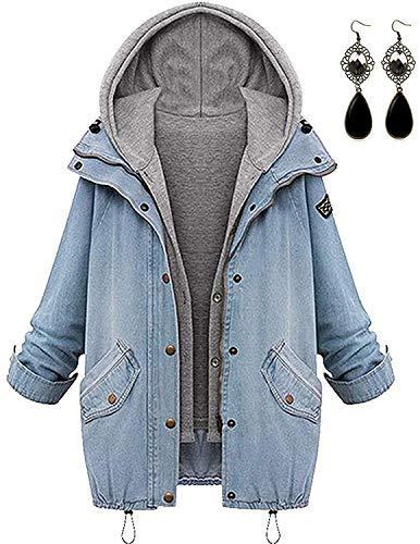 sitengle Damen Jeansjacke Denim Winterjacke Blazer Langarmshirt 2 in 1 Kurzjacke Freizeit Oberteil Strickjacke Jäckchen Tops Mäntel Outwear, Blau, M=EU36-38