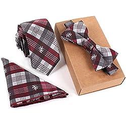SKNSM hidalgo Conjunto de corbata de tartán de moda para hombre Conjunto de corbata de pajarita de corbata a cuadros para conjuntos de Tie (Color : White, tamaño : Talla única)