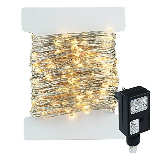 400led 40m catene luminosa filo di rame argento colore, 8 modalità, stringa luci led luminose, uso interno ed esterno per decorazioni feste, alberi di natale(bianco caldo)