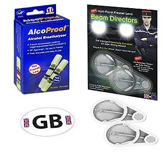 Scheinwerfer Beam Fresnel Adapter + 2French Twin + B Alkoholtester/weiß GB Aufkleber
