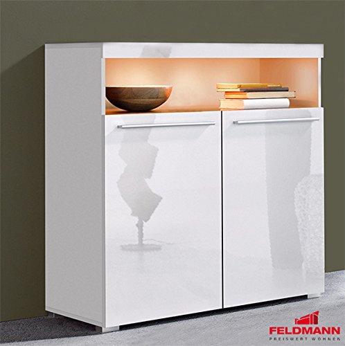 Kommode 550138 Anrichte Sideboard Schrank weiß / weiß Hochglanz 91cm