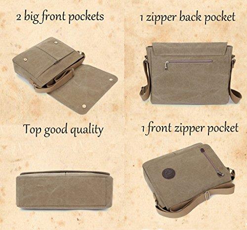 Super moderno unisex vintage a tracolla in tela, borsa a tracolla, messenger bag per lavoro Uni zaino da viaggio sport di borsa a tracolla, Uomo, Black Khaki