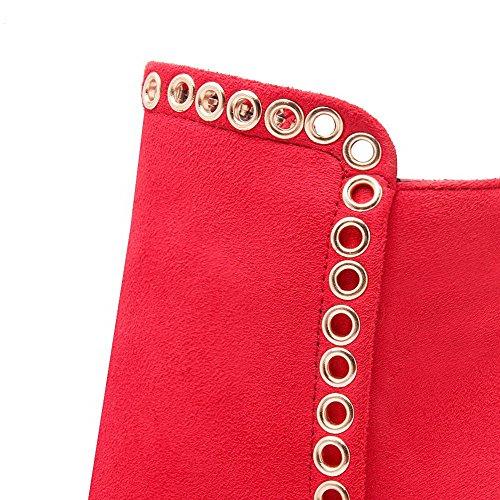 VogueZone009 Donna Alla Caviglia Tacco Alto Chiodato Stivali con Ornamento Di Metallo Rosso