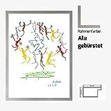 Kunstdruck Poster Bild von Pabla Picasso - La ronde de la jeunesse 60 x 80 cm mit MDF-Bilderrahmen Monaco & Acrylglas reflexfrei, viele Farben zur Auswahl, hier Alu gebürstet