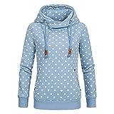CHIYEEE Damen Lange Ärmel Hoodie Frauen Kapuzenpullover Pullover mit Kapuze Cross Over Kragen und Fleece Innenseite Blau XL
