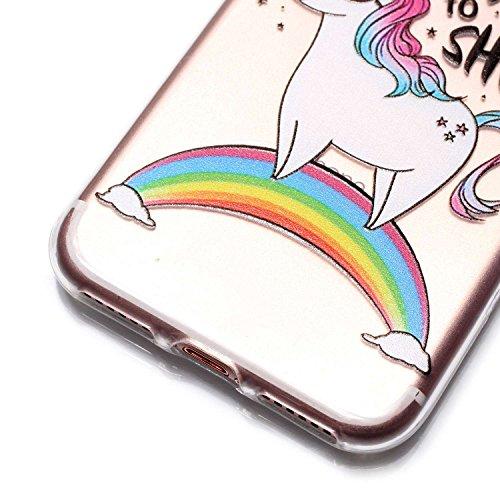 iPhone 7 Hülle,Bumper Case für iPhone 7,Ekakashop Bunt Rose Muster Modisch Durchsichtig Ultra dünn Slim Weiche Silikon TPU Flexible Gel Case Silikon Defender Protective Schutzhülle Rückhülle für Apple Regenbogenpferd