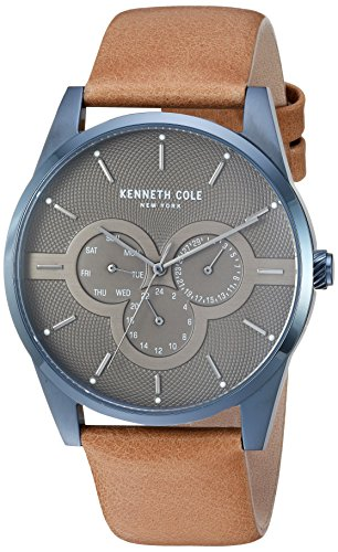 Kenneth Cole New York Men's Quartz Stainless Steel and Leather Casual Watch, Color:Blue (Model: KC15205006)