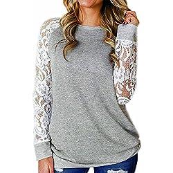KEERADS T Shirt Femme Dentelle Creux Tunique Haut Chic Fleuri Manches Longues Tops Blouse Pullover Col Rond Chemisier en Mousseline de Soie(M,Gris)