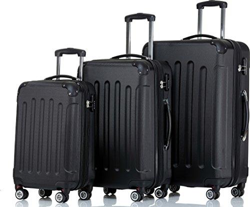 SHAIK ® 3-tlg. Hartschalen Kofferset, Trolley, Koffer, Reisekoffer, 32/78/124 Liter, 4 Doppelrollen, 25% mehr Volumen durch Dehnfalte (Schwarz)