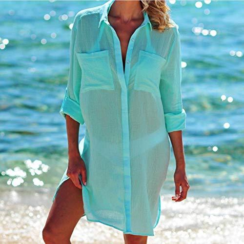 Damen Strand Sonnencreme Bluse, Mittel und Lang, Sommer Dünnschnitt Atmungsaktiv Cool Cardigan, Geeignet für Wandern und Freizeit Travel Wear Green Outfit Cardigan Und Hut