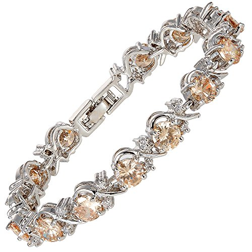 [RIZILIA BLOSSOM] Tennis Bracelet [18cm/7inch] with Round Cut Gemstones CZ [Champagne] in 18K White Gold Plated, Simple Modern Elegance
